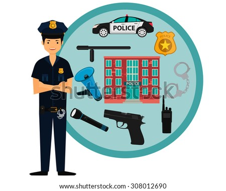 Male policeman and police icons. Vector illustration - stock vector