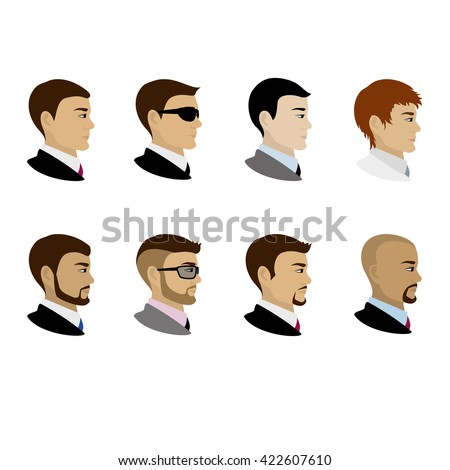 Male portrait in profile, cartoon vector illustration