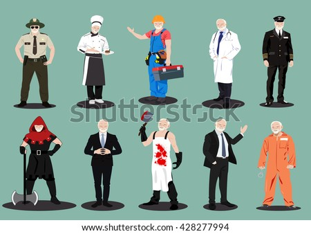 Male Profession Men's Characters Set Cop Cook Kitchener Prisoner Pilot Aviator Executioner Doctor Police Builder Businessman Butcher