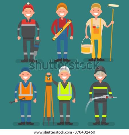 male profession miner, builder, painter, mechanic, surveyor, fir - stock vector