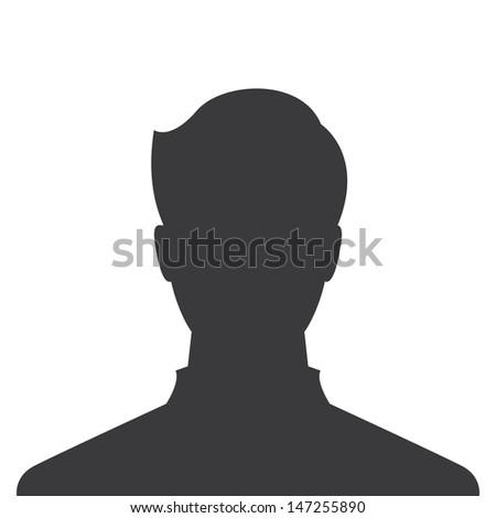 male profile picture, silhouette profile avatar - stock vector