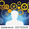 male profile with gears and cogs  - vector illustration - stock vector