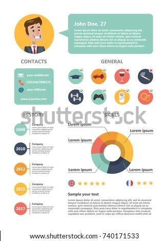 male resume sample skills abilities experience stock vector