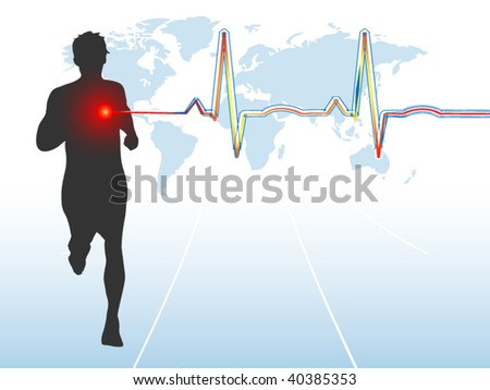 Male runner with EKG - layered - stock vector