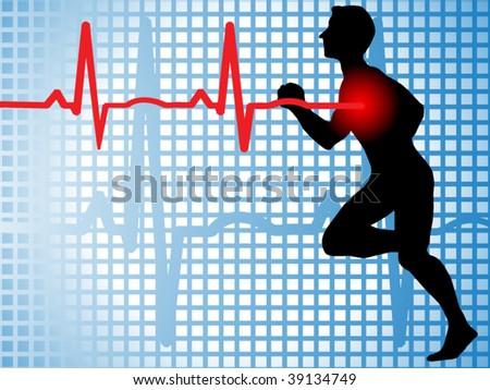 Male runner with EKG to heart - stock vector