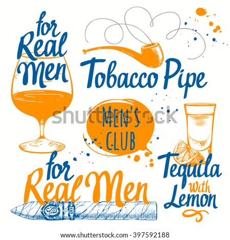 Male set of drinks and smoking. Drinks and cigars in sketch style. Vector illustration with cigars, pipes, tequila and brandy. Classical men set. - stock vector