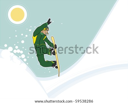 Male snowboarder mid-jump, over abstract background. - stock vector