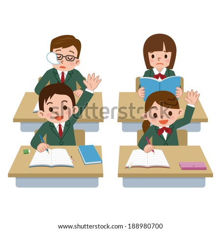 Male students has been falling asleep in class - stock vector