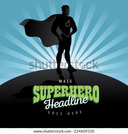 Male Superhero burst background Jpg or EPS 10 vector - stock vector