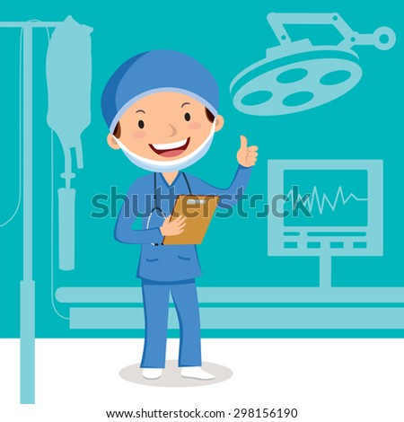 Male surgeon. Cheerful surgeon in the operation theater.  - stock vector