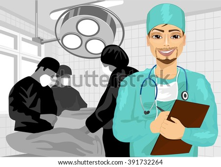 male surgical nurse in operating room holding clipboard