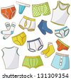 Male Underwear Doodle Icon Set - stock vector