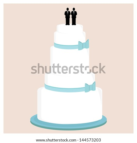 Male wedding cake with blue bows