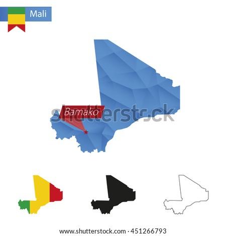 Galerry Mali map with capital Bamako
