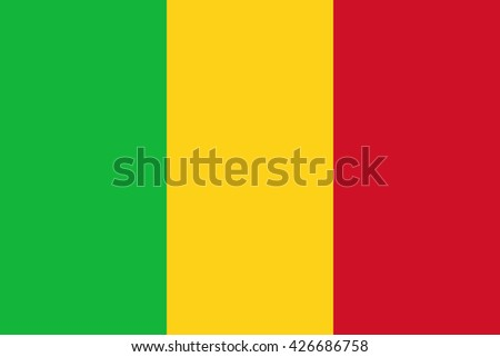 Mali flag, official colors and proportion correctly. National Mali flag. Vector illustration. EPS10. - stock vector