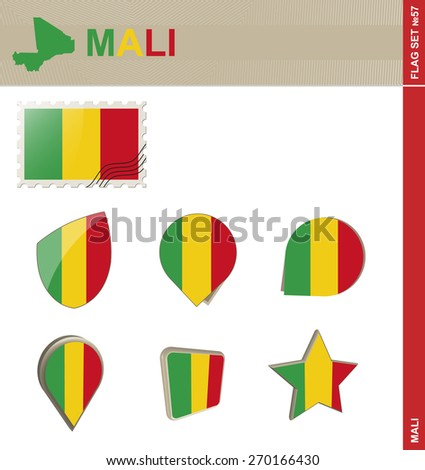 Mali Flag Set, Flag Set #57. Vector.