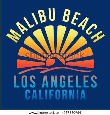 Malibu beach surf typography, t-shirt graphics, vectors - stock vector