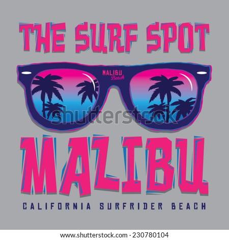 Malibu surf typography, t-shirt graphics, vectors - stock vector