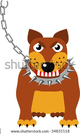 Malicious sentry dog on a chain. The chain is on other layer and can be switched easily -off.Isolated Vector Illustration.