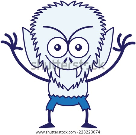 Malicious werewolf with big head, bulging eyes, blue pants, blue fur and sharp fangs while frowning, staring at you, smiling and raising its arms in a very intimidating mood - stock vector