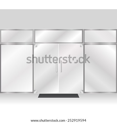 Mall Glass Store Facade with no signs - stock vector