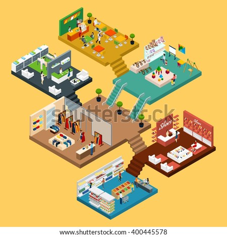 Mall Isometric icon set with conceptual 3d map of multistory shopping center with different floors and areas vector illustration - stock vector
