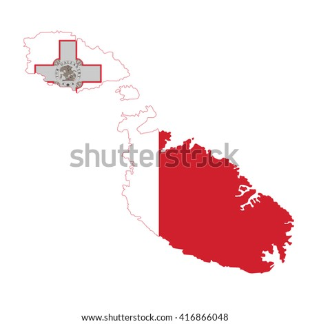 malta country flag map shape national symbol