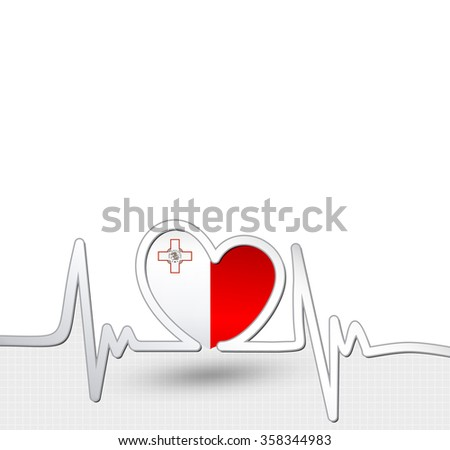 Malta flag heart and heartbeat line.Patriotic vector background.