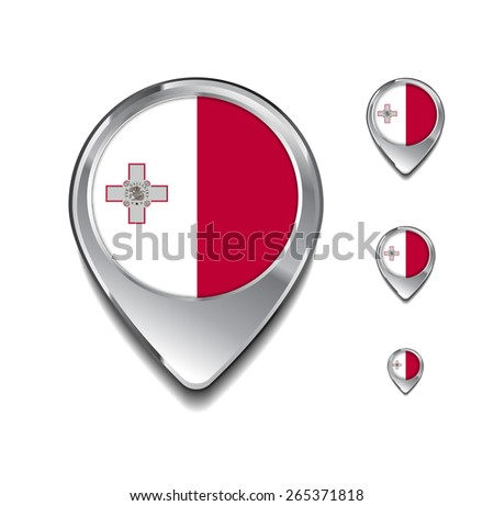 Malta flag map pointer. 3d Map Pointer with flag glossy button style on gray background - stock vector