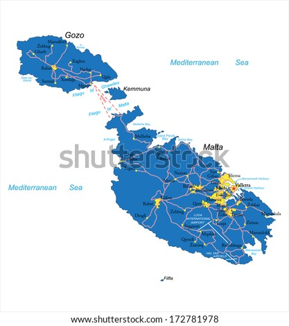 Malta map - stock vector