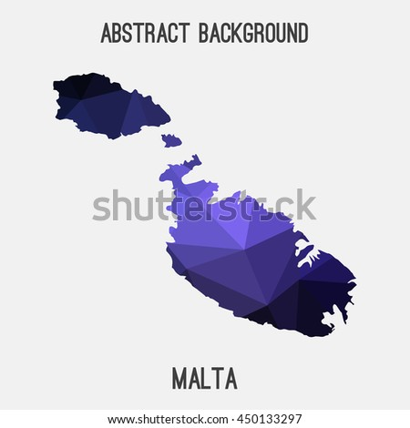 Malta map in geometric polygonal,mosaic style.Abstract tessellation,modern design background,low poly. Vector illustration.