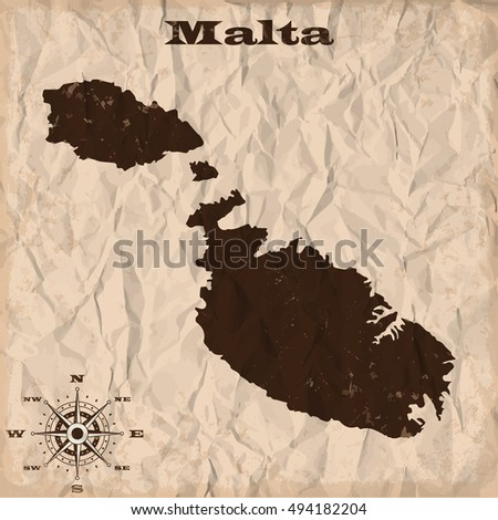 Malta old map with grunge and crumpled paper. Vector illustration