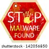 malware / computer virus warning sign, vector - stock vector