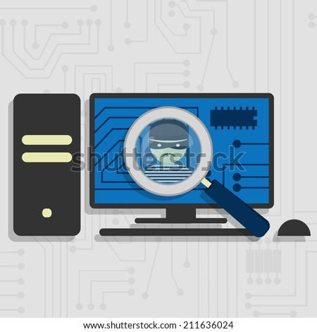 Malware detected on pc represented by a magnifying glass focusing on the figure of a thief - stock vector