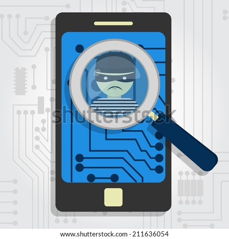 Malware detected on smartphone represented by a magnifying glass focusing on the figure of a thief - stock vector
