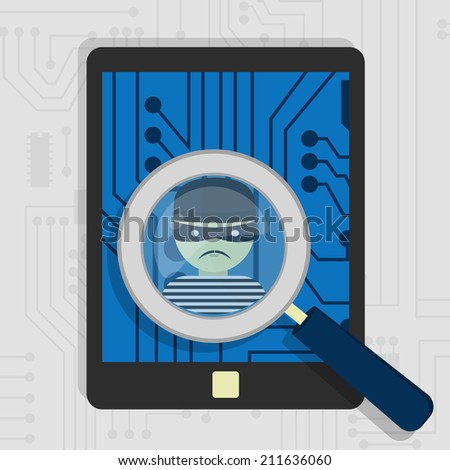 Malware detected on tablet represented by a magnifying glass focusing on the figure of a thief - stock vector
