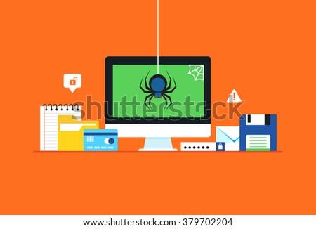Malware, spyware, Virus attack. Flat design modern vector illustration concept. - stock vector