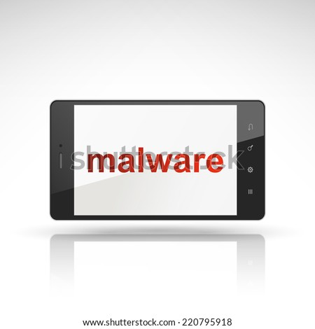 malware word on mobile phone isolated on white - stock vector