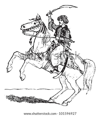 Mamluk, shown on horseback, vintage engraved illustration. Dictionary of Words and Things - Larive and Fleury - 1895