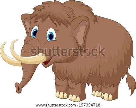 mammoth cartoon - stock vector