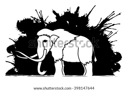 Mammoth designed on grunge ink background graphic vector. - stock vector