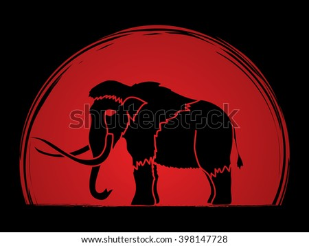 Mammoth designed on sunset background graphic vector. - stock vector