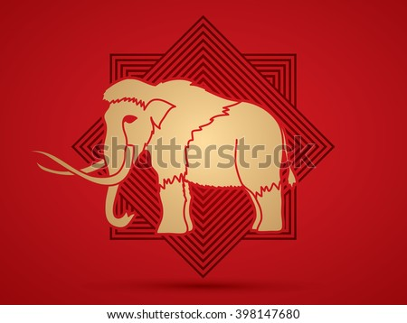 Mammoth designed online square background graphic vector. - stock vector