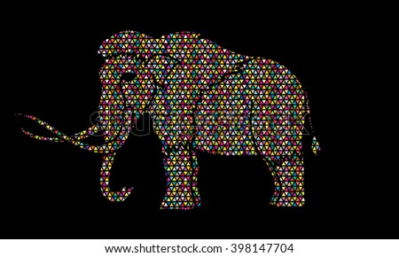 Mammoth designed using colorful mosaic pattern graphic vector. - stock vector