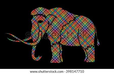 Mammoth designed using colorful pixels graphic vector. - stock vector