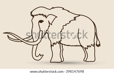 Mammoth outline graphic vector. - stock vector