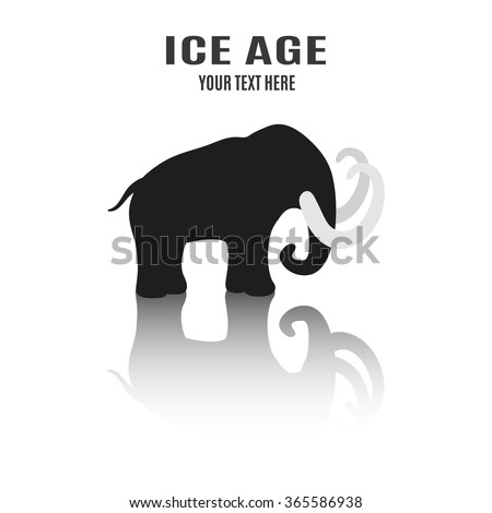 Mammoth silhouette with place for text. Ice Age - stock vector