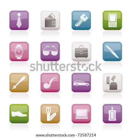 man Accessories icons and objects- vector illustration - stock vector