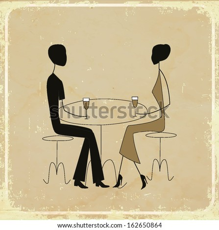 Man ad woman in a restaurant, vintage card  - stock vector