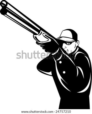 Man aiming  shotgun at you - stock vector